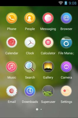 Sunny Day android theme application menu