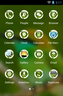 Green Bee Eater android theme application menu