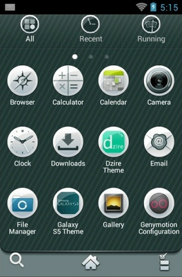 Sole android theme application menu