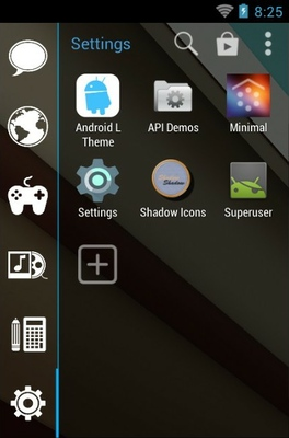 Android L android theme application menu