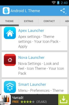 Android L android theme launcher menu