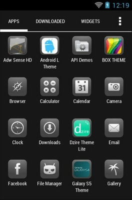 Glasklart android theme application menu