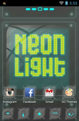 Neon Light android theme home screen