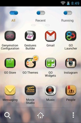 Zanyway android theme application menu