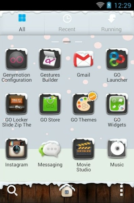 Winter android theme application menu