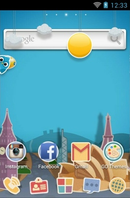 Paper Town android theme home screen