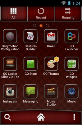 Red Chrome android theme application menu