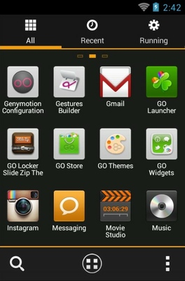 MIUI X4 android theme application menu