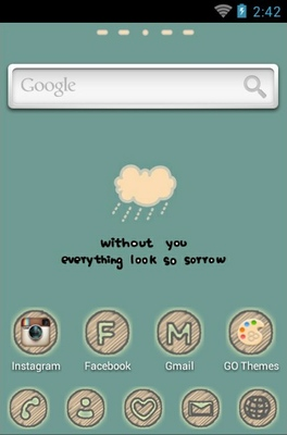 Cry Cloud android theme home screen