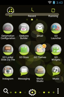 Bubble android theme application menu