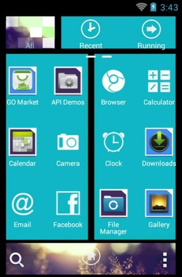 WP7blue android theme application menu