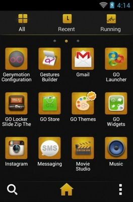 Black Gold android theme application menu
