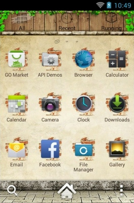 Backyard android theme application menu