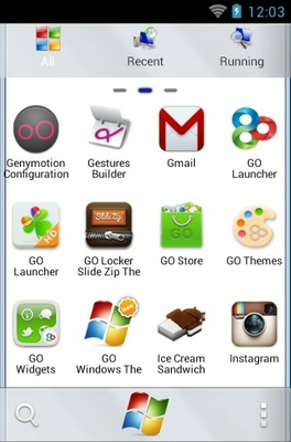 Windows 7 android theme application menu