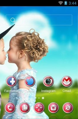 Cute Love android theme home screen