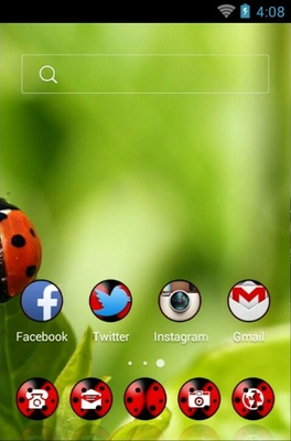 Red Bugs android theme home screen