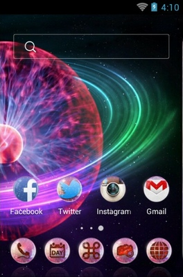 Plasma Globe android theme home screen