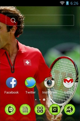 Roger Federer android theme home screen