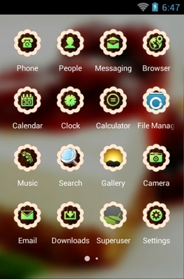 Cake android theme application menu