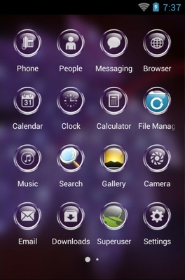 Dew Drops android theme application menu
