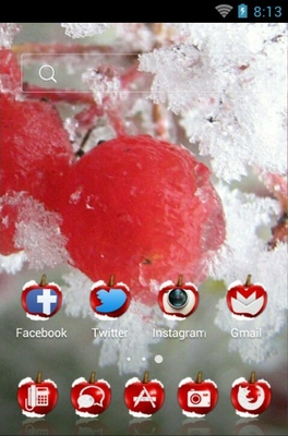 Red Cherry android theme home screen