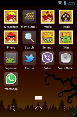 Angry birds android theme application menu