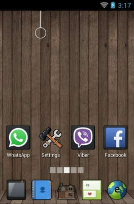 Wooden home android theme home screen