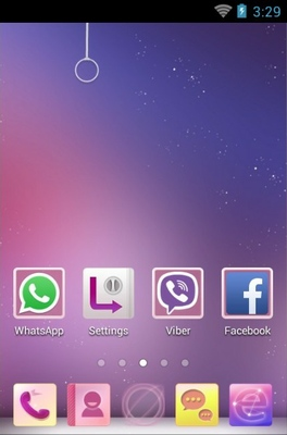 Purple Sky android theme home screen