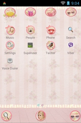 Pin Up Girl android theme application menu