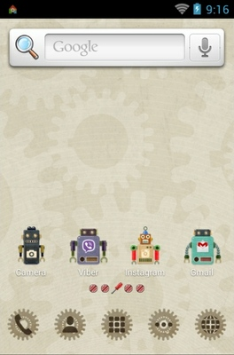 Vintage Robot android theme home screen