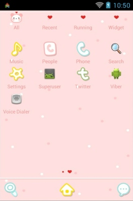 Pink Love android theme application menu