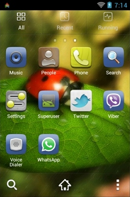 Ladybug android theme application menu