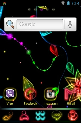 Neon Universal android theme home screen