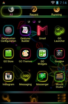 Neon Universal android theme application menu