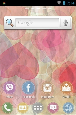 Valentine Colorons android theme home screen