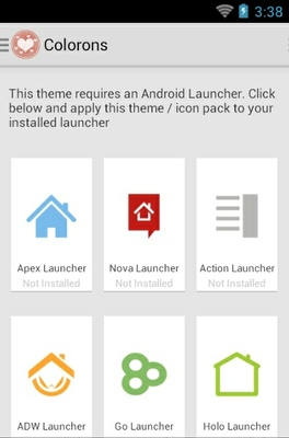 Valentine Colorons android theme launcher menu