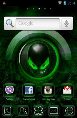 Alien android theme home screen