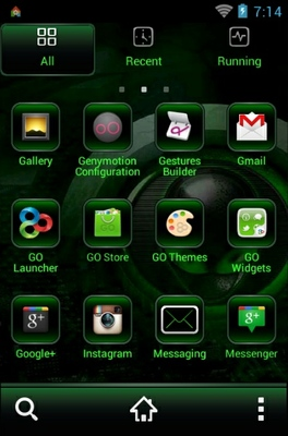 Alien android theme application menu