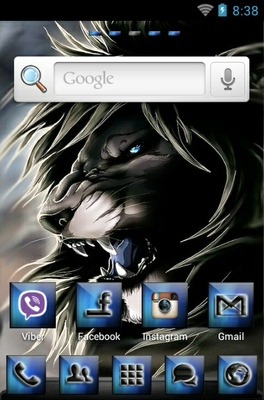 Black Lion android theme home screen