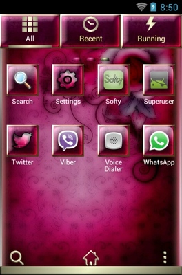 Pink Rosee android theme application menu