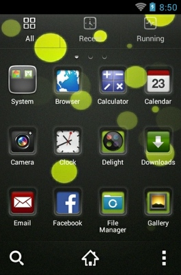 VBubbles HD android theme application menu