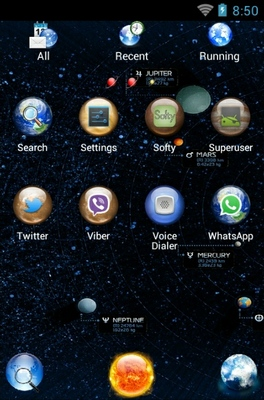 Solar System android theme application menu
