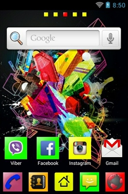 Geometrical Splash android theme home screen