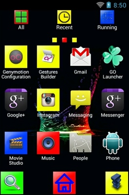 Geometrical Splash android theme application menu