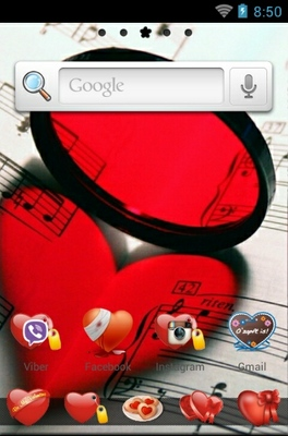 Touch My Heart android theme home screen