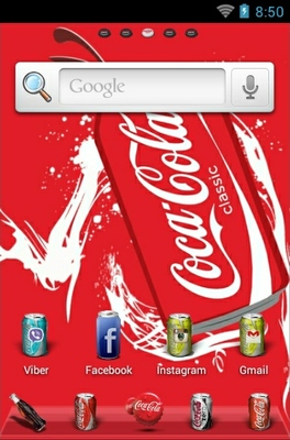 Coke World android theme home screen