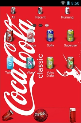 Coke World android theme application menu