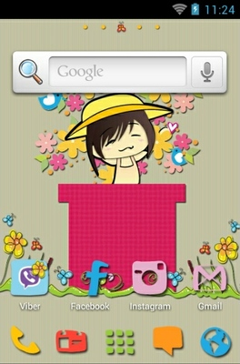 Spring Time android theme home screen