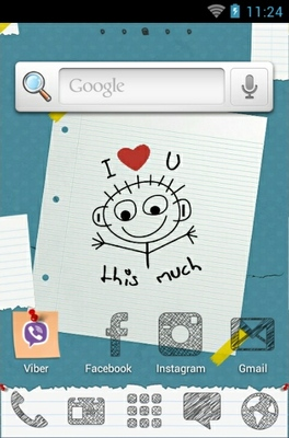 Valentine Sketch android theme home screen