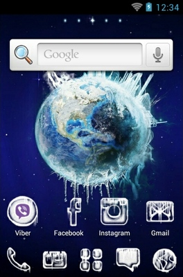 Planet Ice android theme home screen
